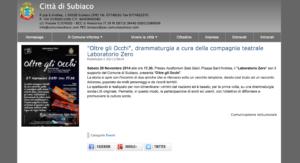 """Sito Comune di Subiaco: """"Oltre gli Occhi"""", drammaturgia a cura della compagnia teatrale Laboratorio Zero (22/11/2014)"""