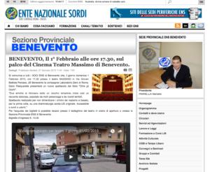 BENEVENTO, Il 1° Febbraio alle ore 17.30, sul palco del Cinema Teatro Massimo di Benevento.