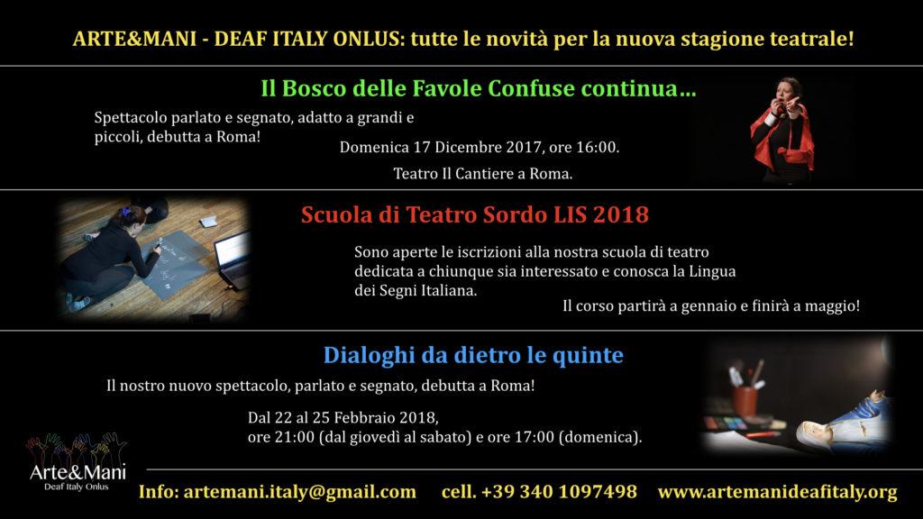 ARTE&MANI - DEAF ITALY ONLUS: tutte le novità per la nuova stagione teatrale!
